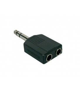 ADAPTADOR 2xJACK HEMBRA STEREO 6,3mm - JACK MACHO STEREO 6,3mm